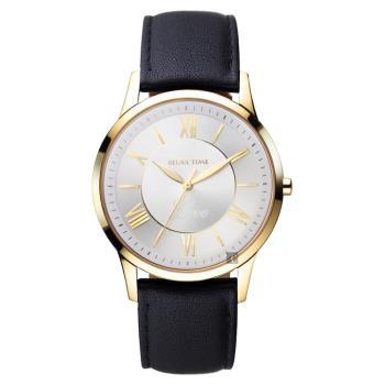 RELAX TIME RT58 經典學院風格腕錶-金框x咖啡/36mm RT-58-15L