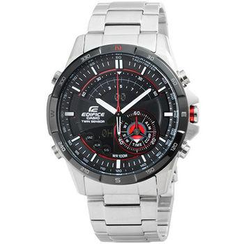 CASIO 卡西歐EDIFICE多功能雙顯鋼帶錶-黑 / ERA-200DB-1A (原廠公司貨)