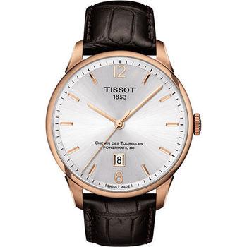 TISSOT 杜魯爾系列機械動力80腕錶-銀x玫瑰金框/42mm T0994073603700