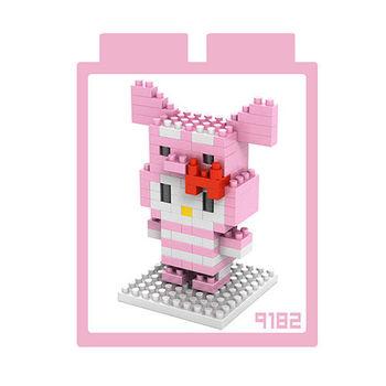 LOZ 鑽石積木 【kitty卡通裝系列】9182-粉紅小豬裝 益智玩具 趣味 腦力激盪