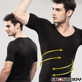 EROSBODY 男生 黑色健身塑身內衣 短袖推薦