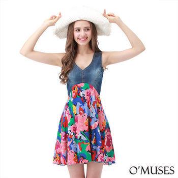 【OMUSES】牛仔拼接花朵宴會洋裝28-8423(S-XL)