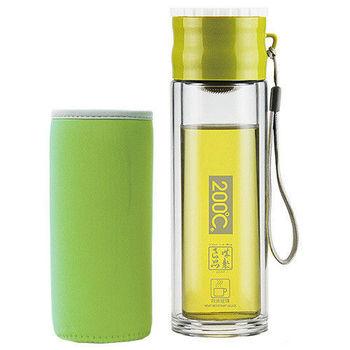 Artist 雙層耐熱附杯套不鏽鋼玻璃泡茶杯/隨身瓶260ml-綠色