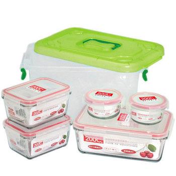 Artist 耐熱玻璃保鮮盒六件組(100ml圓型保鮮盒*2+465ml長型保鮮盒*2+1165ml長型保鮮盒*1+6L收納箱*1)