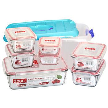 Artist 耐熱玻璃保鮮盒八件組(195ml長型保鮮盒*2+465ml長型保鮮盒*2+765ml長型保鮮盒*2+2365ml長型保鮮盒*1+8L收納箱*1)