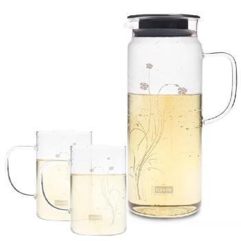Artist 卡佛冷熱兩用耐熱玻璃水杯組(水壺1300ml+水杯250ml*2)