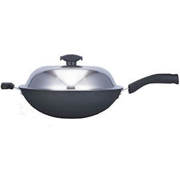【日本寶馬】黑瓷釉不沾單把炒鍋 36cm JA-A-008-036