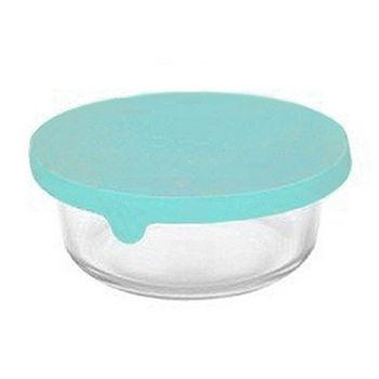 Artist 圓型矽膠蓋耐熱玻璃保鮮盒400ml-蘋果綠