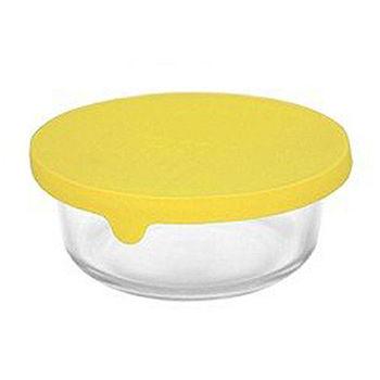 Artist 圓型矽膠蓋耐熱玻璃保鮮盒400ml-萊姆黃