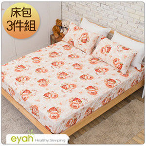 【eyah】台灣100%綿柔蜜桃絨雙人床包枕套3件組-煙雨花色-黃