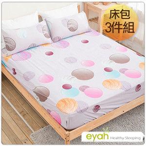 【eyah】台灣100%綿柔蜜桃絨雙人床包枕套3件組-幸福約定