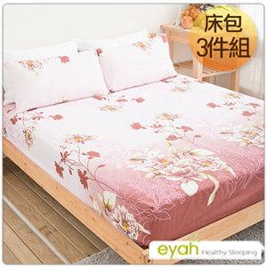 【eyah】台灣100%綿柔蜜桃絨雙人床包枕套3件組-媚影