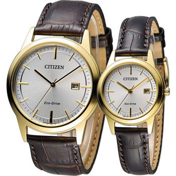 星辰 CITIZEN 浪漫情人簡約對錶 AW1233-01A FE1081-59E
