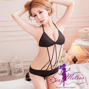 Sexy Meteor 全尺碼-女神魅力冰絲比基尼式連身性感睡衣(魅力黑)A2136-01