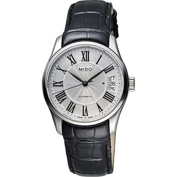 MIDO Belluna II Lady 羅馬機械女錶-銀x黑/33mm M0242071603300