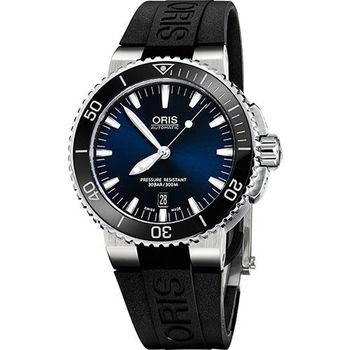 Oris Aquis 時間之海中型潛水機械錶-藍x黑/43mm 0173376534135-0742634EB