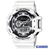 CASIO卡西歐 G ^#45 SHOCK街頭 科技風格 雙顯錶 ^#45 白 GA ^#