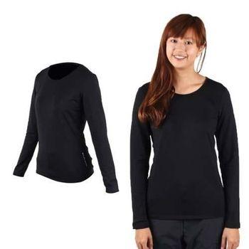 【WILDLAND】女遠紅外線U領保暖衣-長袖T恤 圓領長T 刷毛 慢跑 黑