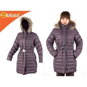 【WILDLAND】女中長羽絨外套- 貉子毛 保暖 輕量 深霧灰