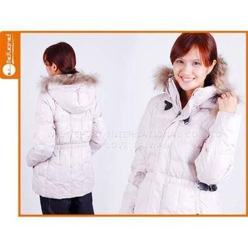 【WILDLAND】女貉子毛單件式羽絨外套 -保暖 防寒  白卡其