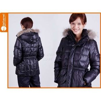 【WILDLAND】女貉子毛單件式羽絨外套 -保暖 防寒  黑