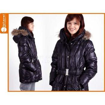 【WILDLAND】女貉子毛單件式羽絨外套- 保暖 防寒 黑