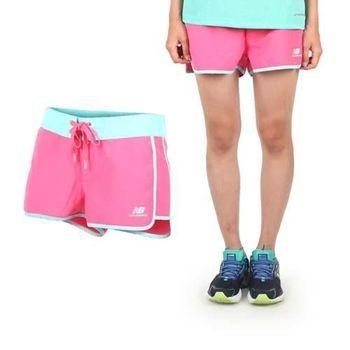 【NEWBALANCE】女運動短褲-慢跑 路跑 桃紅淺藍
