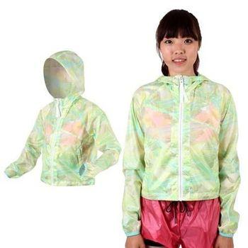 【NEWBALANCE】女短版風衣外套- 防風 連帽 NB 淺綠藍