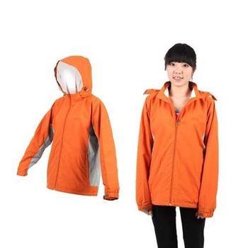 【LeVon】女連帽外套 -風衣 防風 防潑水 天鵝絨 橘灰