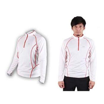 【NatureHike】男長袖拉鍊T恤-路跑 慢跑 運動T恤  白橘