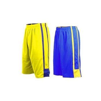 【INSTAR】男女雙面穿籃球褲-運動短褲 台灣製 寶藍黃