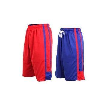 【INSTAR】男女雙面穿籃球褲-運動短褲 台灣製 寶藍紅