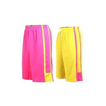 【INSTAR】男女雙面穿籃球褲-運動短褲 台灣製 桃紅黃