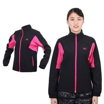 【MIZUNO】女風衣外套 - 防風 刷毛 保暖 防潑水 立領  黑桃紅