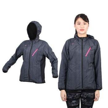 【MIZUNO】女半長風衣外套 - 防風 刷毛 保暖  深灰桃紅