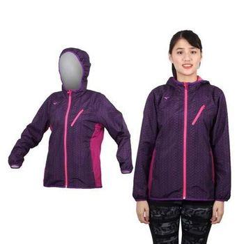 【MIZUNO】女半長風衣外套 - 防風 刷毛 保暖  深紫桃紅