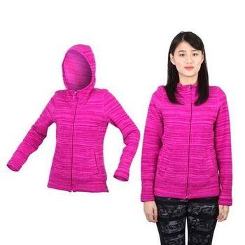 【THE NORTH FACE】女輕量刷毛兜帽外套 - 防風 保暖 立領 紫紅