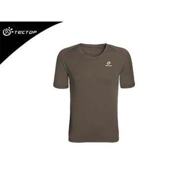 【TECTOP】男 短袖T恤 慢跑 圓領 速乾 透氣 吸溼排汗 休閒短T 軍綠