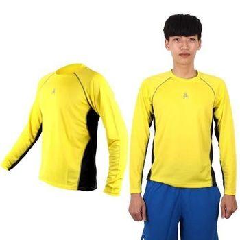 【HODARLA】男女長袖剪接排汗衫 -長T恤 圓領T 防曬 台灣製 黃黑