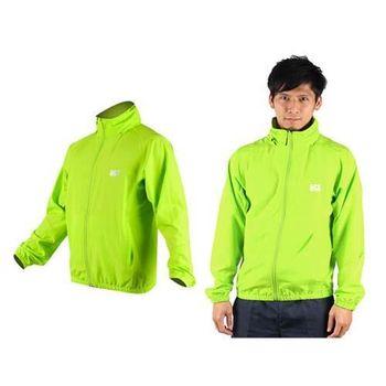 【MJ3】男平織單層風衣-慢跑 防風外套 運動外套  螢光綠