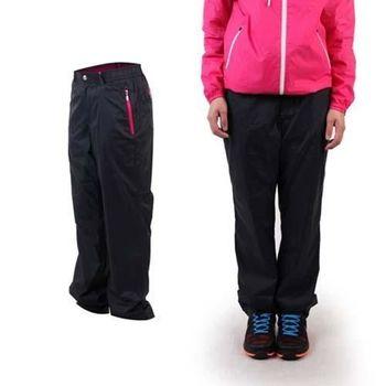 【WILDLAND】女輕量防風長褲-刷毛 保暖 休閒長褲 黑桃紅