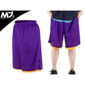 【MJ3】男籃球短褲-雙面穿  紫