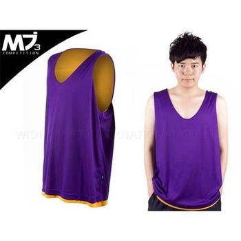 【MJ3】男雙面穿籃球背心  紫