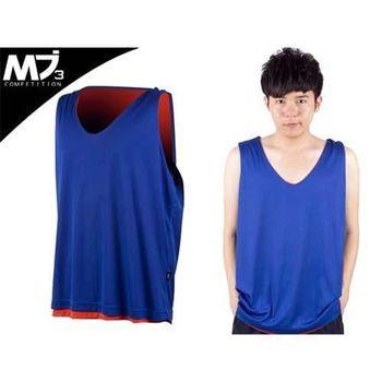【MJ3】男雙面穿籃球背心  藍