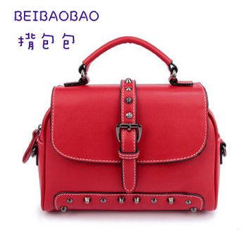 【BEIBAOBAO】美式簡約真皮機車包(魅力紅)