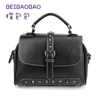 【BEIBAOBAO】美式簡約真皮機車包(搖滾黑)