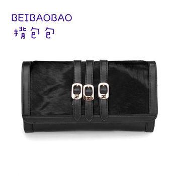 【BEIBAOBAO】時尚晚宴真皮馬毛鏈條包(時尚黑)