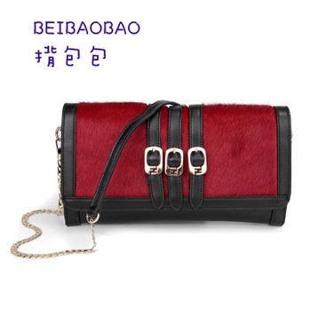 【BEIBAOBAO】時尚晚宴真皮馬毛鏈條包(神秘紅)