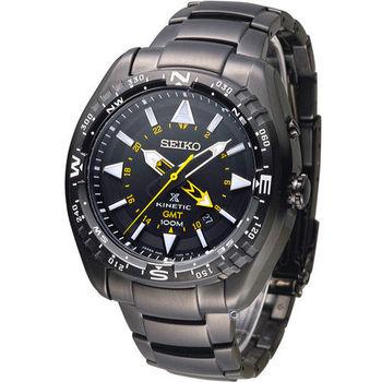 SEIKO PROSPEX GMT兩地時間人動電能腕錶 5M85-0AE0SD SUN047J1 全黑