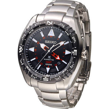 SEIKO PROSPEX GMT兩地時間人動電能腕錶 5M85-0AE0D SUN049J1 黑